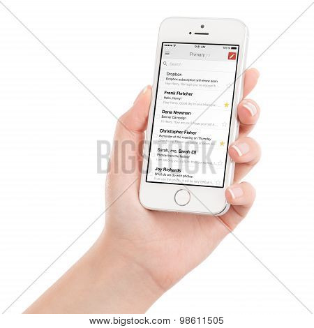 Female Hand Holding White Apple Iphone 5S With Google Gmail App On The Display