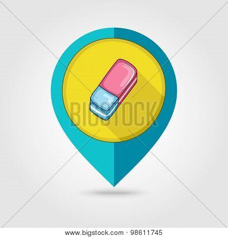 Eraser Flat Mapping Pin Icon