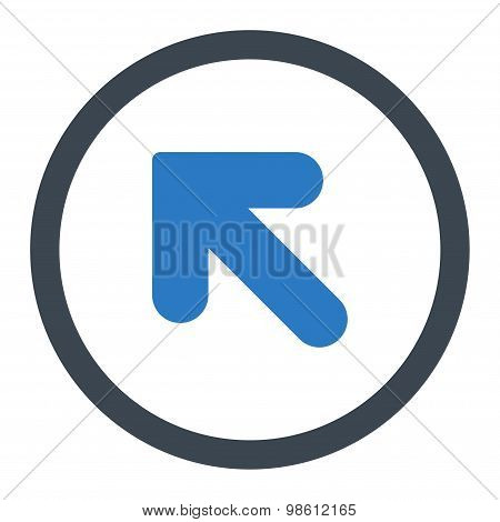 Arrow Up Left flat smooth blue colors rounded raster icon
