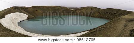 Volcanic Explosion Crater Viti On Krafla Volcano Iceland