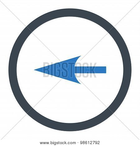 Sharp Left Arrow flat smooth blue colors rounded raster icon