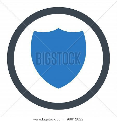 Shield flat smooth blue colors rounded raster icon