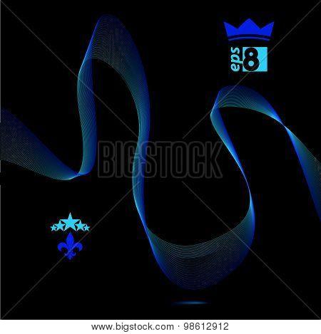 Three-dimensional motif elegant flowing curves, dark background in motion with five stars emblem