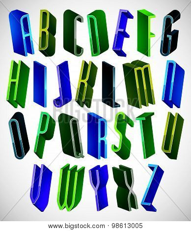 3d colorful letters tall and thin alphabet, dimensional geometric font in blue gray and green colors