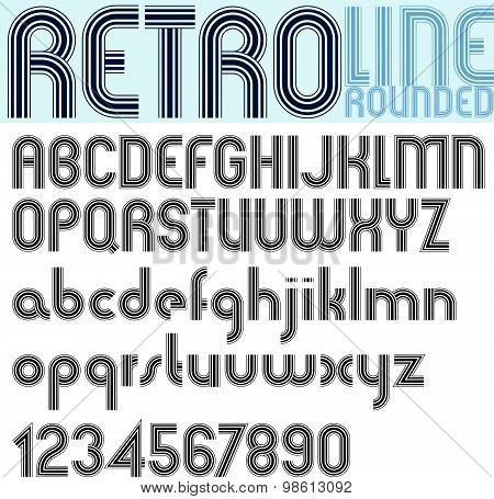 Stripes retro style font, light version, vector alphabet, trendy and stylish letters design.