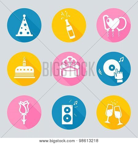 Set of 9 birthday vector web and mobile icons in flat design.