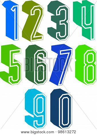 3d geometric numbers set in blue and green colors, colorful numerals for advertising and web design.