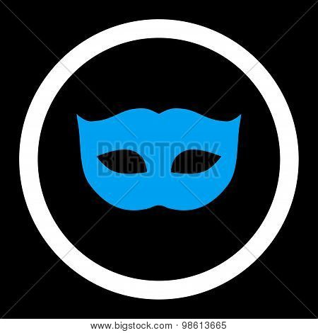 Privacy Mask flat blue and white colors rounded raster icon