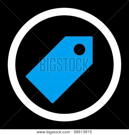 Tag flat blue and white colors rounded raster icon