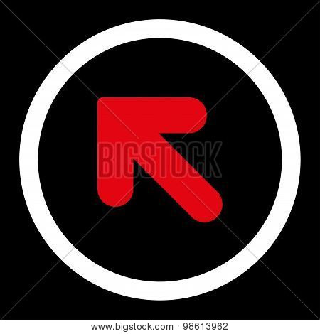 Arrow Up Left flat red and white colors rounded raster icon