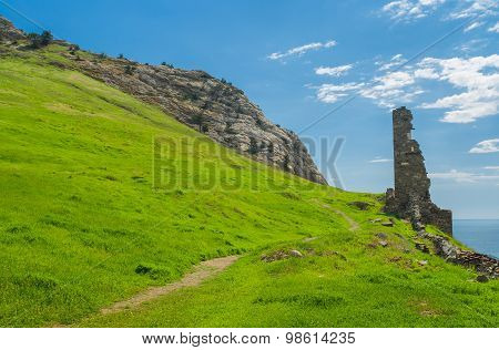 Path to ruins of ancient Genoese fortress in Sudak