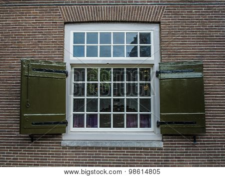 Georgian Stye Window Frame On Brick House In Amsterdam