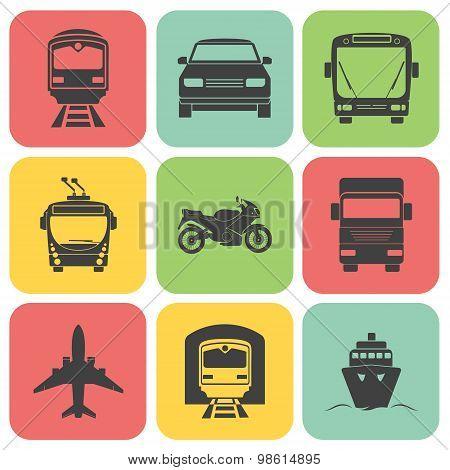 Simple transport icons set.