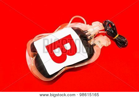 Close Up Bag Of Blood And Plasma Group B