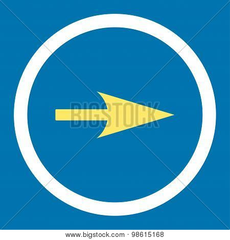 Arrow Axis X flat yellow and white colors rounded raster icon