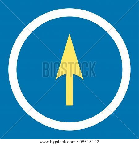 Arrow Axis Y flat yellow and white colors rounded raster icon