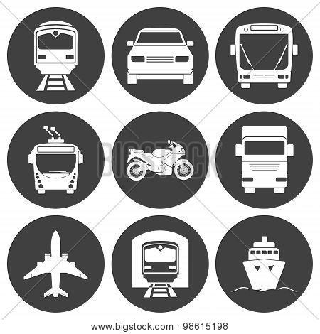 Simple monochromatic transport icons set.