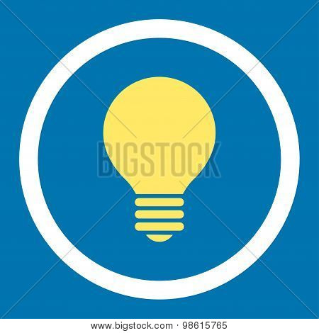 Electric Bulb flat yellow and white colors rounded raster icon