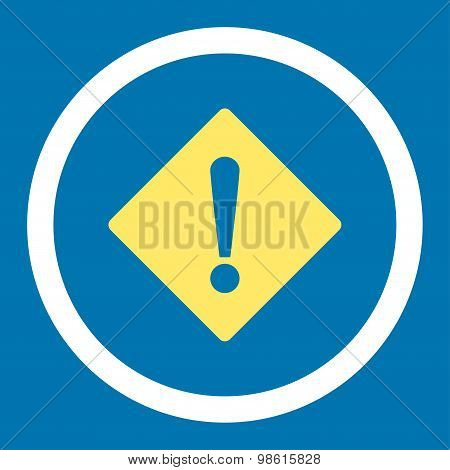 Error flat yellow and white colors rounded raster icon