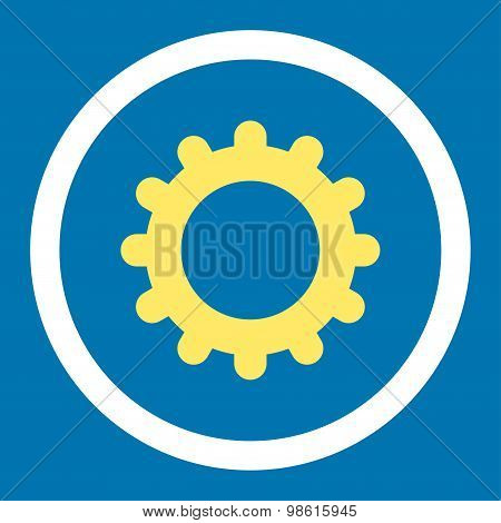 Gear flat yellow and white colors rounded raster icon