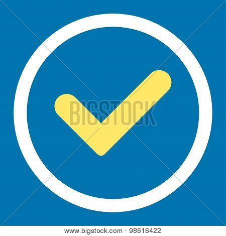 Yes flat yellow and white colors rounded raster icon
