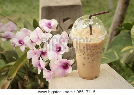 Iced Cacao With Flowers In The Garden