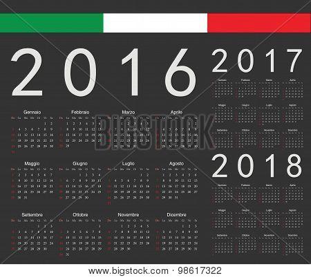 Set Of Black Italian 2016, 2017, 2018 Year Vector Calendars