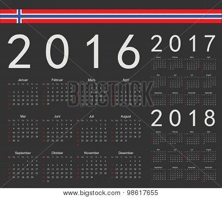 Set Of Black Norwegian 2016, 2017, 2018 Year Vector Calendars