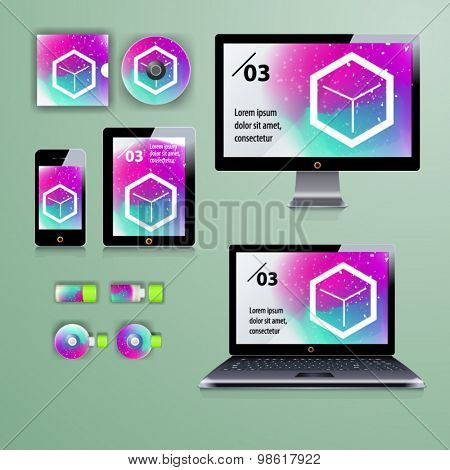 Geometry application template design for corporate identity with watercolor splash. Stationery set