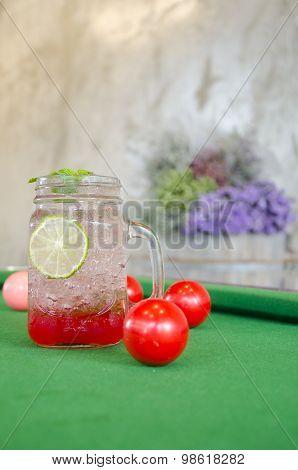 Strawberry Italian Soda On Snooker Table