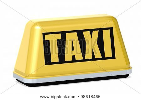 Yellow Taxi Sign Isolated