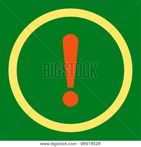 Exclamation Sign flat orange and yellow colors rounded raster icon