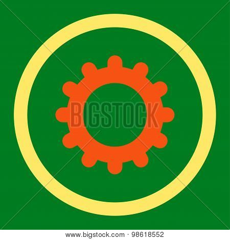 Gear flat orange and yellow colors rounded raster icon