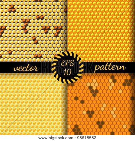 Seamless vector pattern of honey cells, combs.