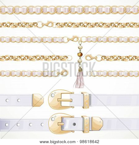 Belt On Chain With A Tassel, White Leather Belt Buttoned And Unbuttoned, Seamless Chain Isolated On