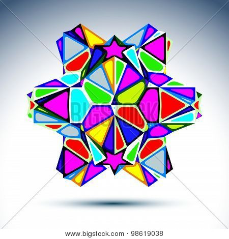 Rich 3d abstract psychedelic figure constructed from triangles and geometric elements. Vector