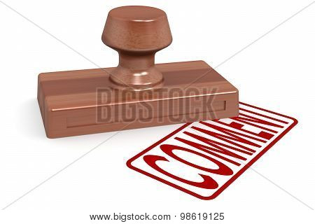 Wooden Stamp Comment With Red Text