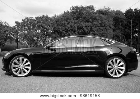 Black Tesla Motors Model S - side view black white