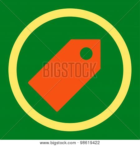 Tag flat orange and yellow colors rounded raster icon