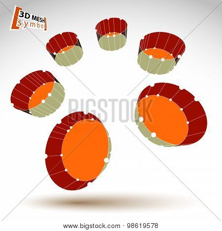 3d mesh colorful cylinder abstract object isolated on white background, geometric symbol