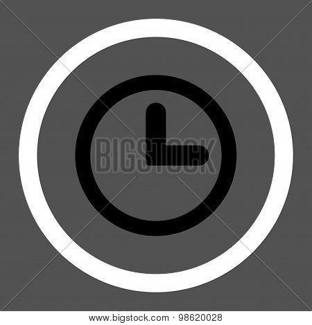 Clock flat black and white colors rounded raster icon