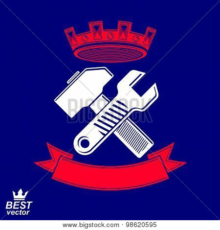 Simple vector wrench and hammer crossed. Graphic reparation utensil with imperial crown