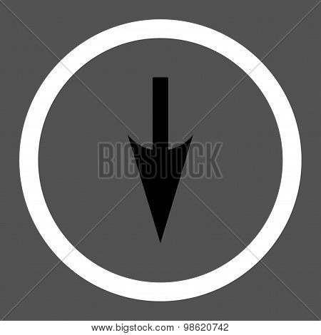 Sharp Down Arrow flat black and white colors rounded raster icon