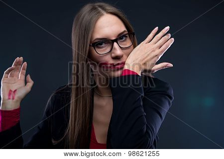 Image of woman with smudged lipstick