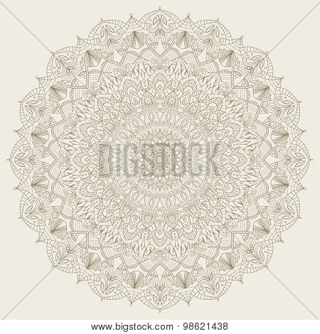 Complex, detailed mandala - round vector ornament.
