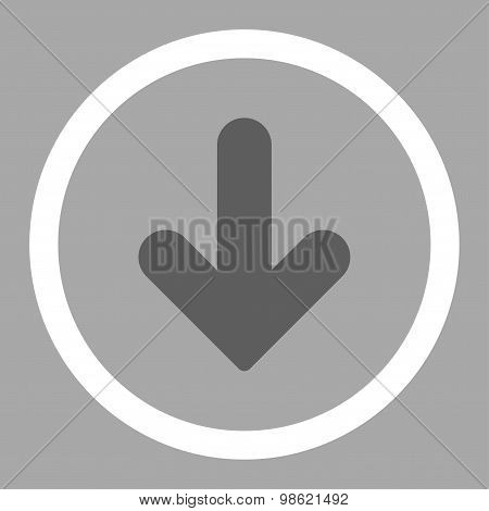 Arrow Down flat dark gray and white colors rounded raster icon