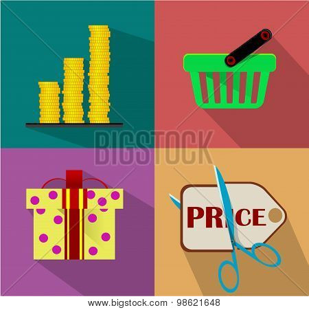 Shopping Flat icon set for Web and Mobile Application.