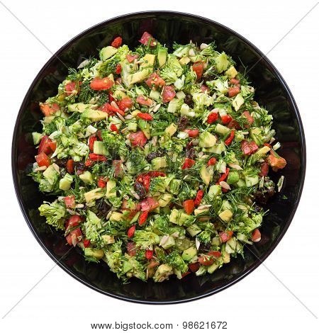 Salad With Broccoli, Red Pepper, Avocado, Dill, Raisins, Sunflower Seeds