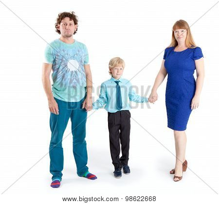 Father And Mother With Son A Schooler Looking At Camera, Isolated On White Background