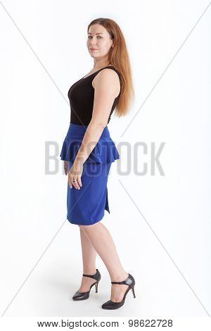 Beautiful Woman In Blue Skirt And High Heels Posing, Isolated On White Background, Full-length